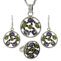 Peridot Gemstone Silver Jewelry Set