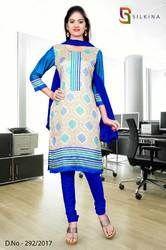 Beige and Blue Silk Georgette Uniform Salwar Kameez
