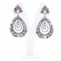 Multi Tourmaline Drop Dangle Earrings