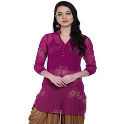 Ira-Soleil-Chiffon-2Pcs-Purple-Kurti-And-Singlet-With-Gold