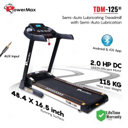Powermax USA TDM-125 Semi-Auto Lubricating Treadmill with Android & iOS App