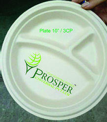 Biodegradable 10 3- Compartment Plate
