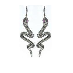 Diamond Designer Snake Dangle Earrings