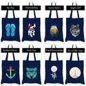Jute Berry Blue Cotton Bag