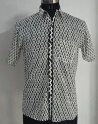Shirt Mens Hand Block Printed  Cotton Fabric Print Indian