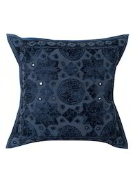 Navy Blue Mirror Work Star Moon Embroidered Cushion Cover