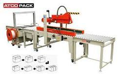 AUTOMATIC TAPPING WITH  AUTOMATIC STRAPPING AND ROLLER CONVEYOR