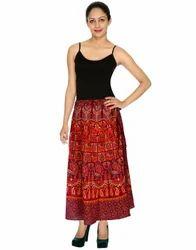 Designer Elephant And Peacock Printed Wrap Around Skirt