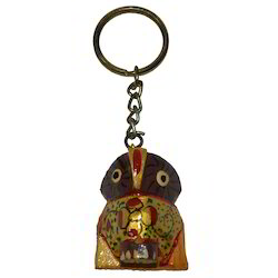 Wooden Painted Owl Keychain