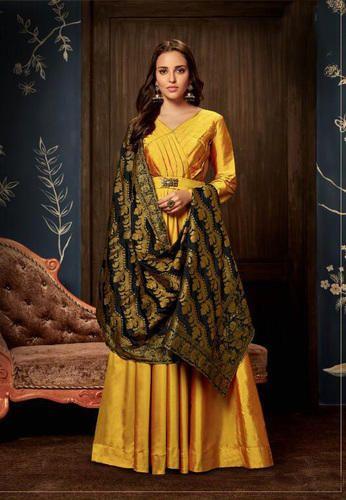 394e6d295a Anarkali Suits - Yellow Silk Anarkali Suit with Banarsi Dupatta ...