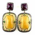 Yellow Sapphire and Ruby Diamond Earring