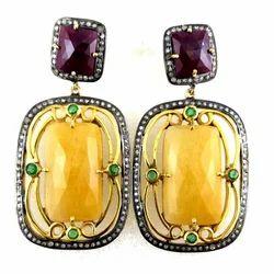 Yellow Sapphire and Ruby Diamond Earrings