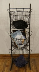 Knock Down Iron Wire 3 Tier Storage Basket With Handles