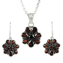 925 Sterling Silver Garnet Pendant And Earring Set