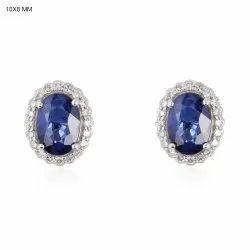 Natural Sapphire Gemstone Stud Earrings