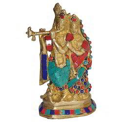 Brass Radha Krishna With Stone Work