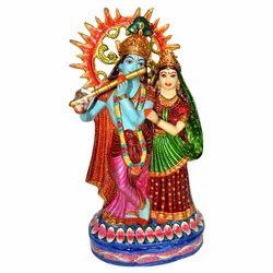 Metal Radha Krishna Statue With Meenakari Work