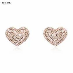 9K Rose Gold Heart Stud Earrings