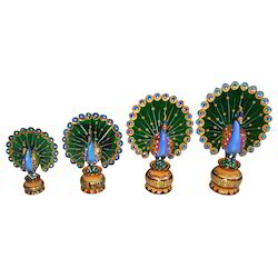 Wooden Painted Peacock Set