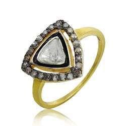 Hot Design 925 Sterling Silver Diamond Inlay Ring