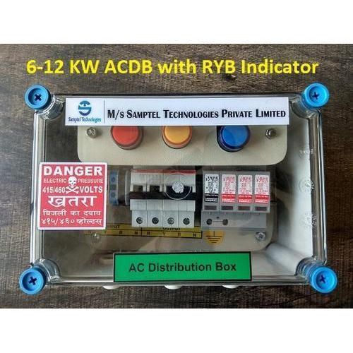 Solar ACDB 5-10 KW Three Phase with AC SPD, RYB Lamp