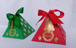 Custom Foil Stamped Favor Boxes With Ribbon Ties