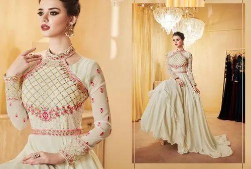 63eae3c84 Designer Party wear Gowns - Stylish Neck Pattern Cream Girlish ...