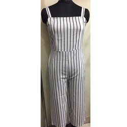 Contrast Vertical Stripe Sleeveless Jump Suit