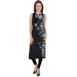 Ira-Soleil-Black-Polyester-Sleeveless-Long-Kurti-With-Blue