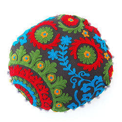 Round Colorful Embroidered Cushion