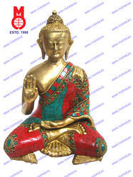 Lord Buddha B/Hand W/Out Base W/Stone Work Statues