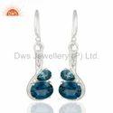London Blue Topaz Gemstone 925 Silver Earrings