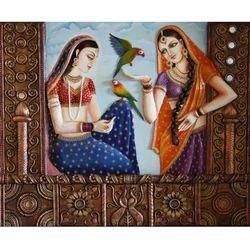 Rajasthani Royal Lady Canvas 3D Mural Painting