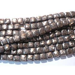 Golden Pyrite Faceted Gemstone Box Beads