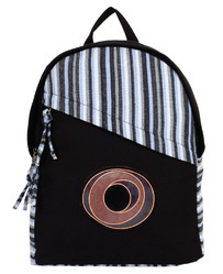 Streak Black Canvas Backpack With Leathers Trims