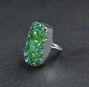 New Mystic Green Druzy Gemstone Silver Plated Women Ring