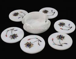Inlay White Marble Tea Coasters