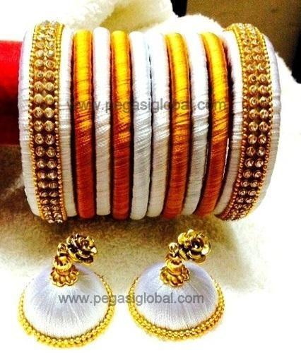 Silk Threaded Bangles And Earrings Stylish With Jhumka Manufacturer From Navi Mumbai