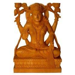 Natural Wooden Laxmi Statue
