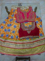 Orange Banglori Silk Embroidered Lehenga Choli