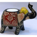 Wooden Elephant Candle Stand