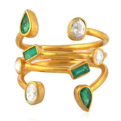 18kt Yellow Gold Diamond Emerald Ring 7-GELP-EUOU
