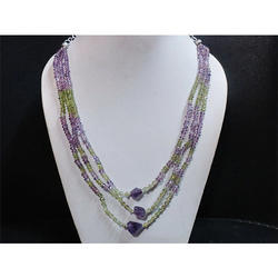 Peridot and Amethyst Gemstone Beaded Necklace