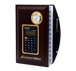 Wooden Diary With Calculator And Clock