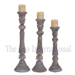 Decorative Wooden Pillar Candle Holder Rustic Finish