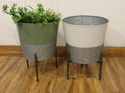 Galvanised Indoor - Outdoor Planters With Stand Set Of 2