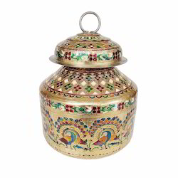 Peacock Designed, S.S Meenakari Medium Pot & Kalash -gm