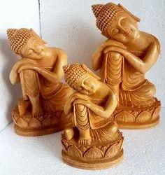 Wooden Kamal Buddha Statue