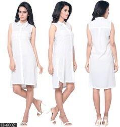 White Polyester Plain Tops