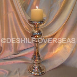 Silver Vintage Pillar Candle Holder